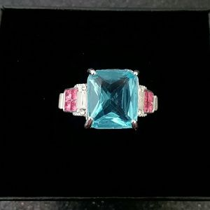 Jewelry - Blue Topaz pink cubic zirconia silver ring size 8